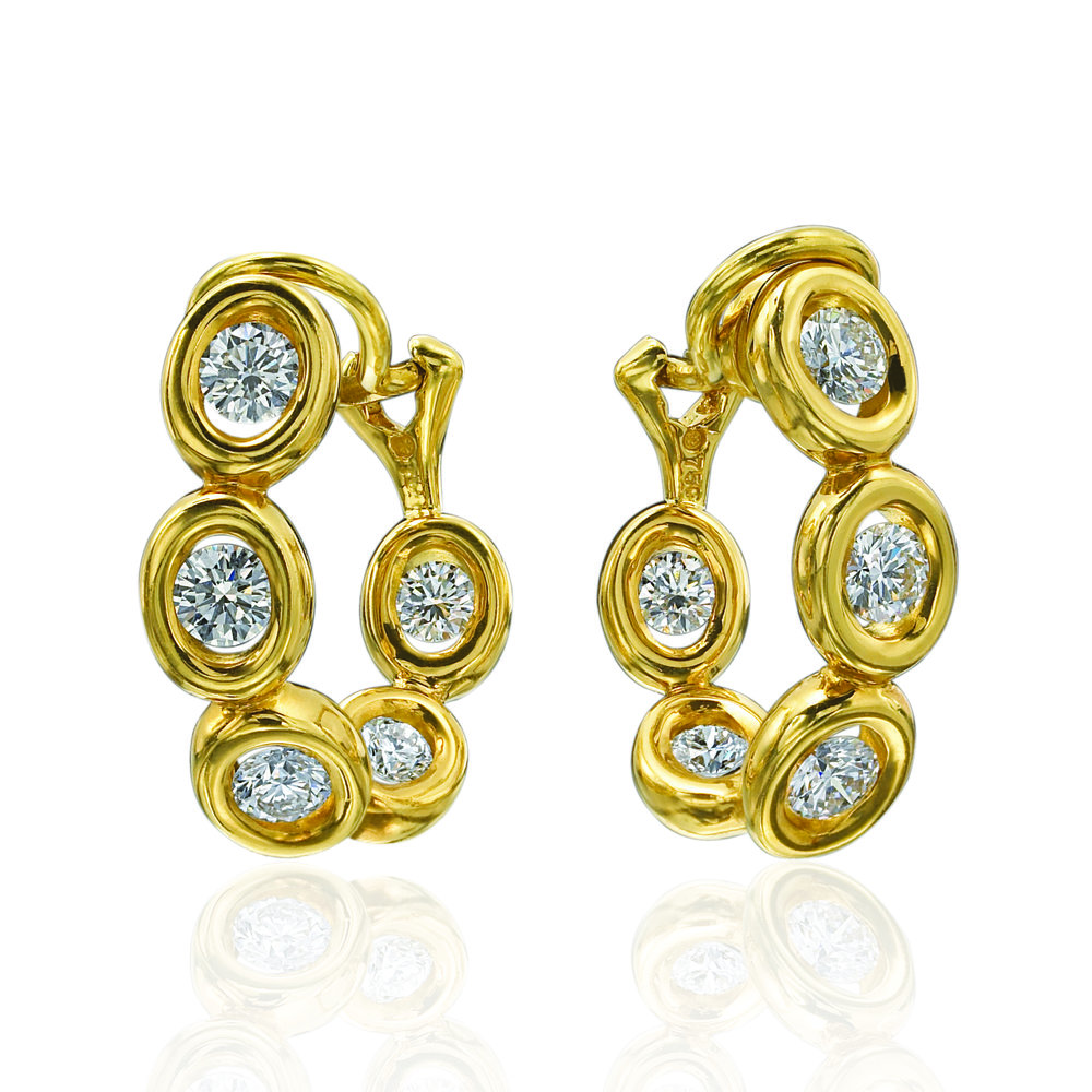 10 Stones, Yellow Gold Earrings