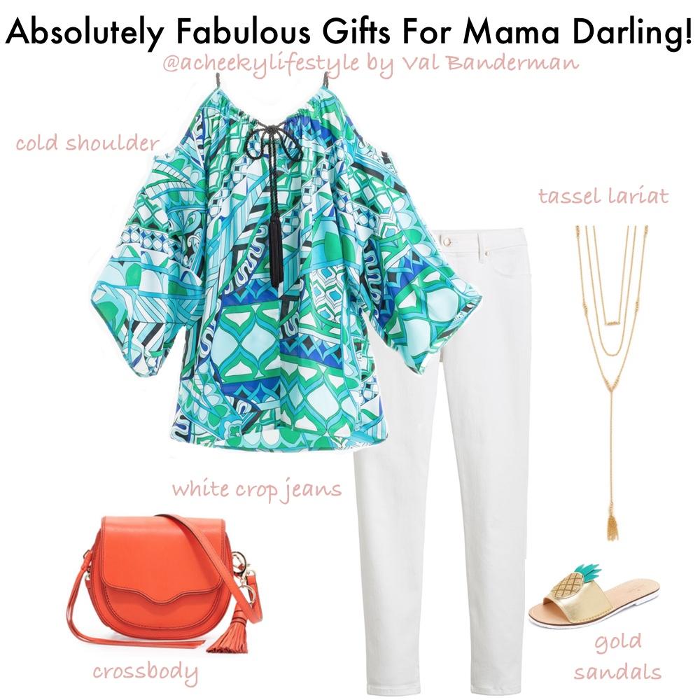Cold Shoulder  Top  | White Crop  jeans  | Gold Pineapple  sandals  | Crossbody  bag  | Tassel  Lariat
