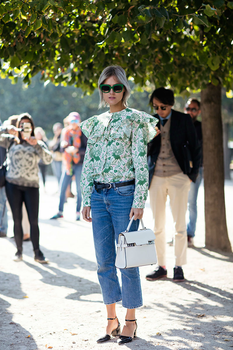 Ruffled Patterned  Long Sleeve Blouse  | Photo: Stockholm Streetstyle