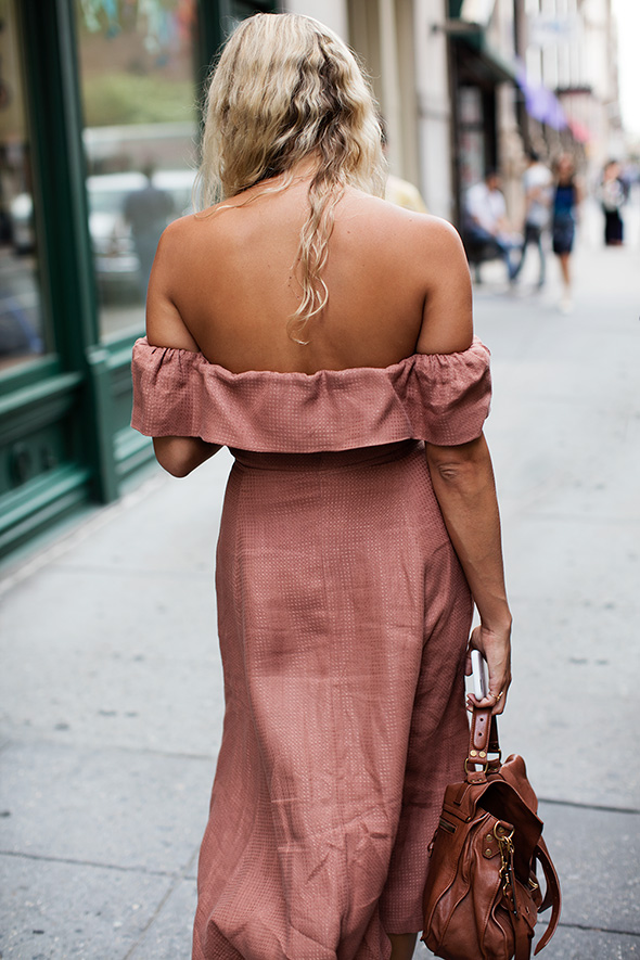 Blush  Off the Shoulder Maxi Dress  | Photo: The Sartorialist