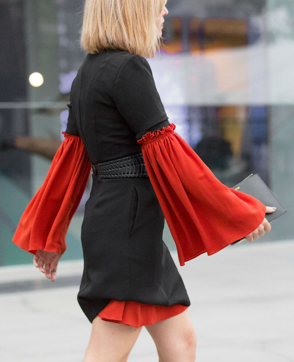 Red  Trumpet Sleeve Blouse  | Photo: Stylesnooperdan
