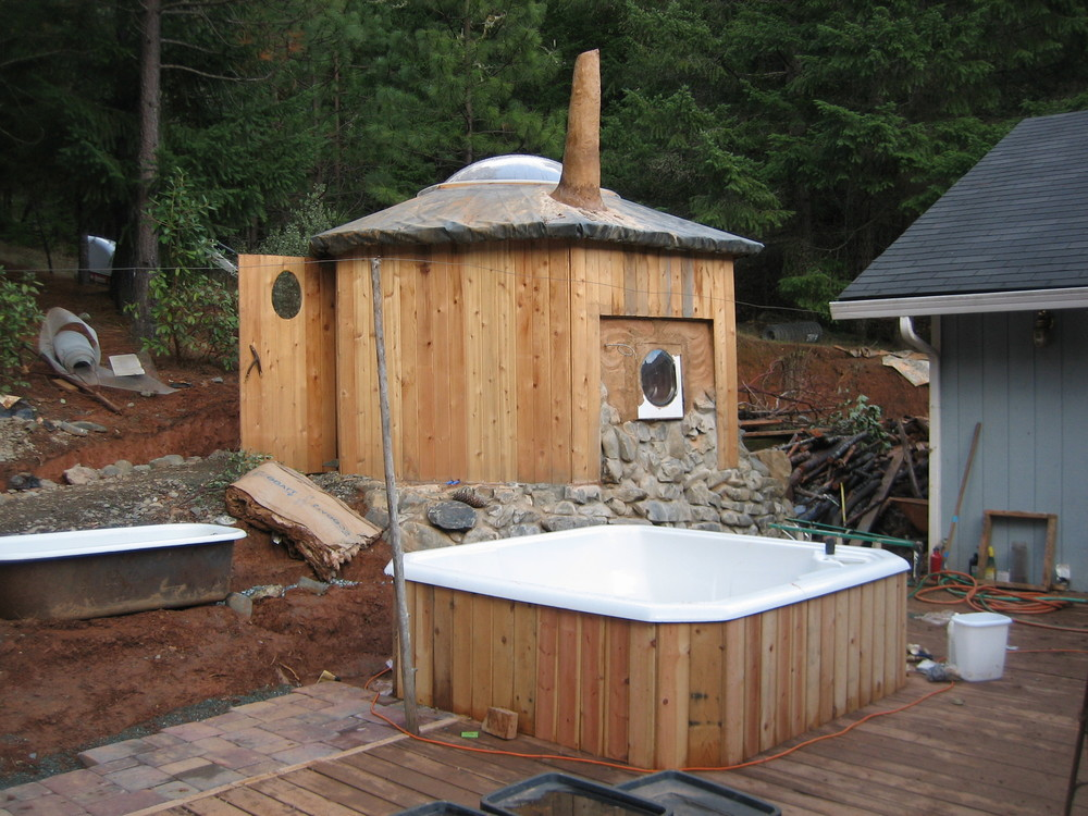 Wood fired sauna and hot tub we built at Gateway with SunRay Kelley