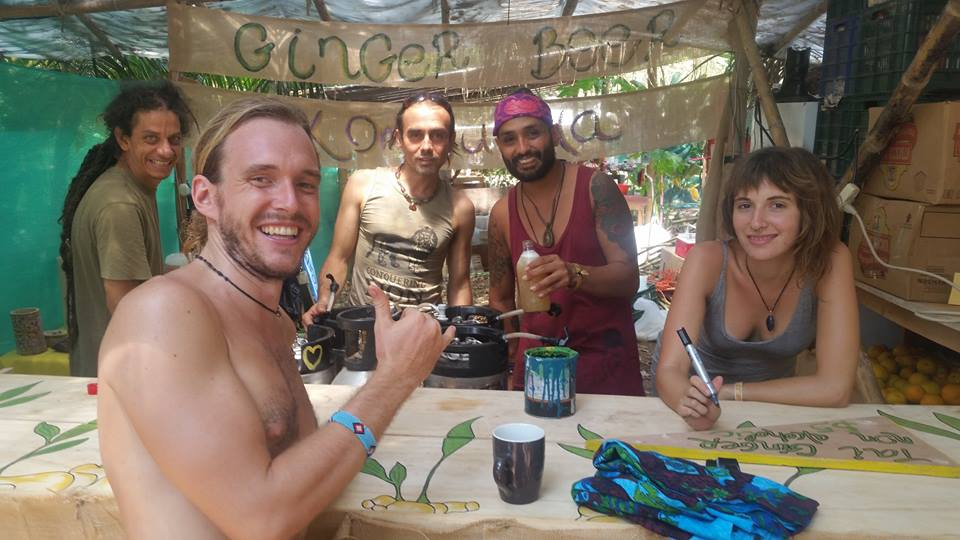 The Tacotal crew selling ginger beer at the 2016 Envision Festival.  (Photo from Cristian's facebook)