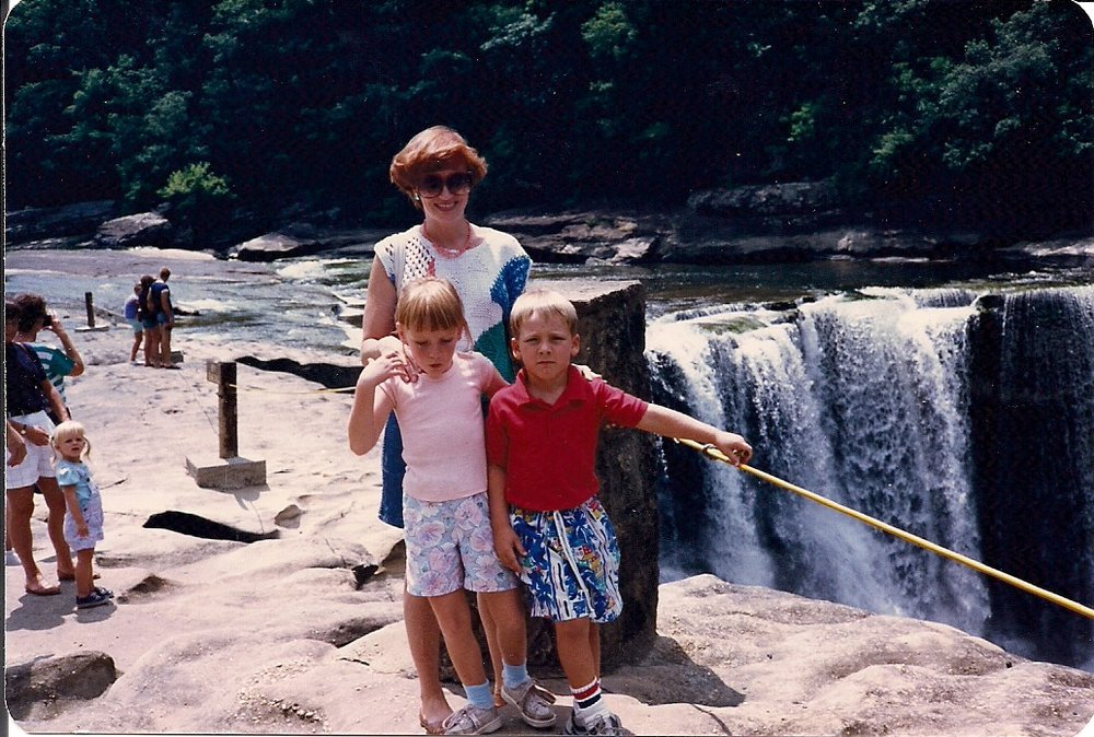 Cumberland Falls.  I was obviously not happy in this picture, but I daresay that's because I didn't want to be in it.  I just wanted to look at the waterfall.