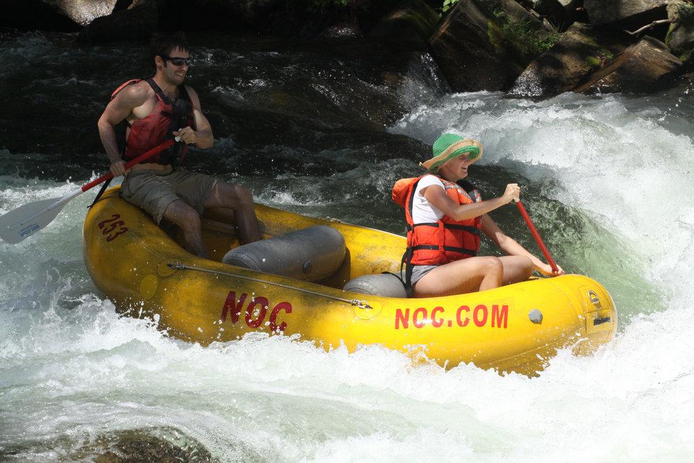 Rafting the Nantahala River with my wife Laura in North Carolina.