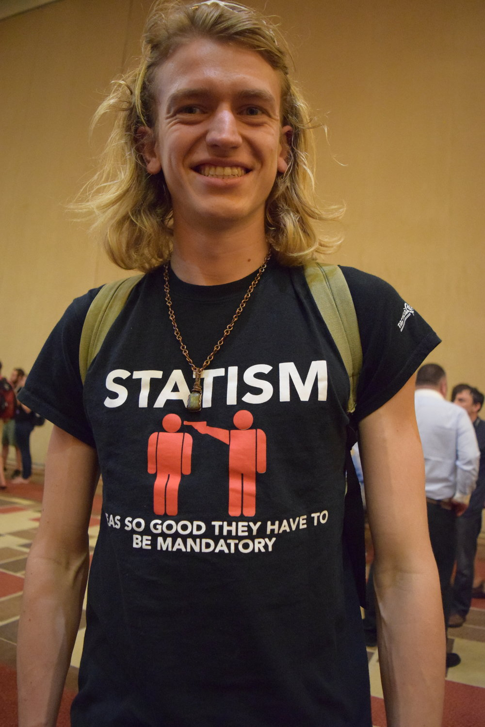 Nathan rocking the statism shirt.  The first word on there that you can't really see is 'Ideas'.