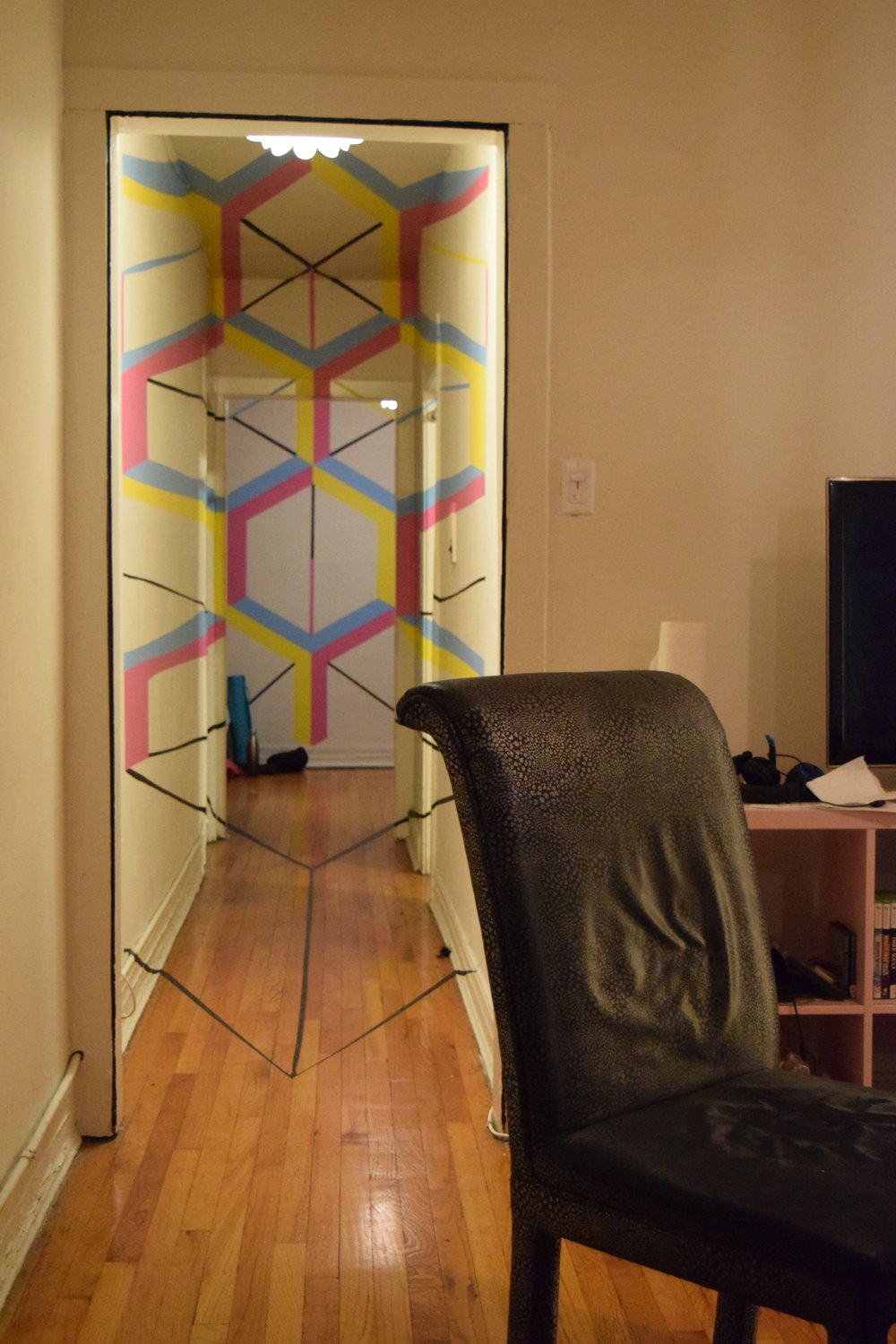 One of Nathan's friends did this interesting art work in his apartment.  You can only tell what you're looking at when you stand in just the right place.