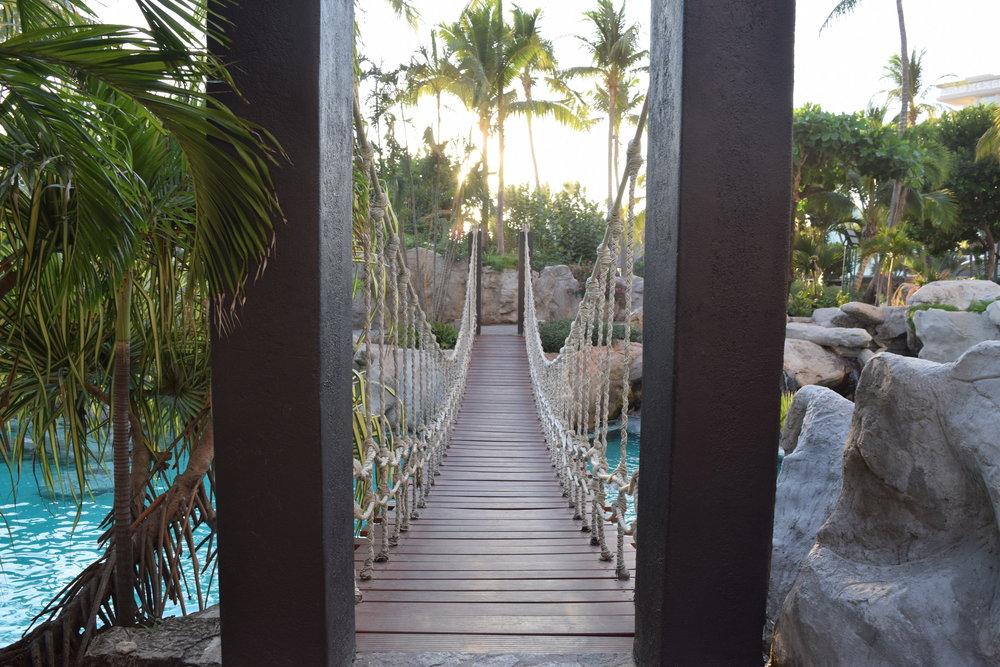 Bridge to the pool island