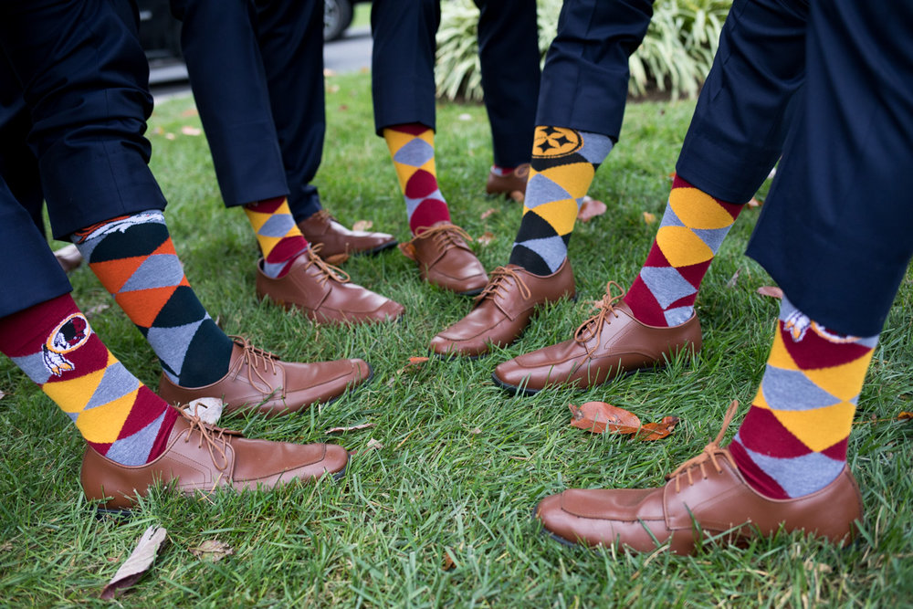 Groomsman's colorful socks