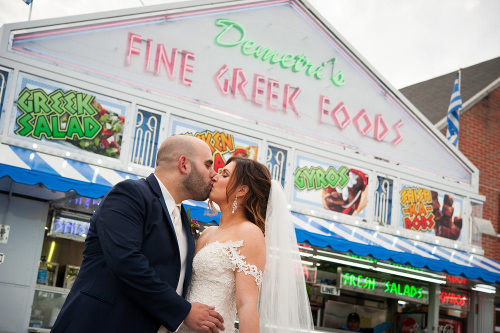 Bride and Groom in front of Gyro Truck