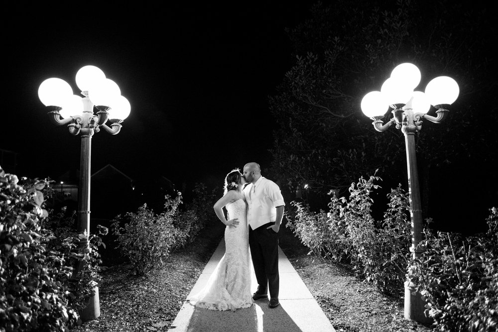 Night shot of Bride and Groom