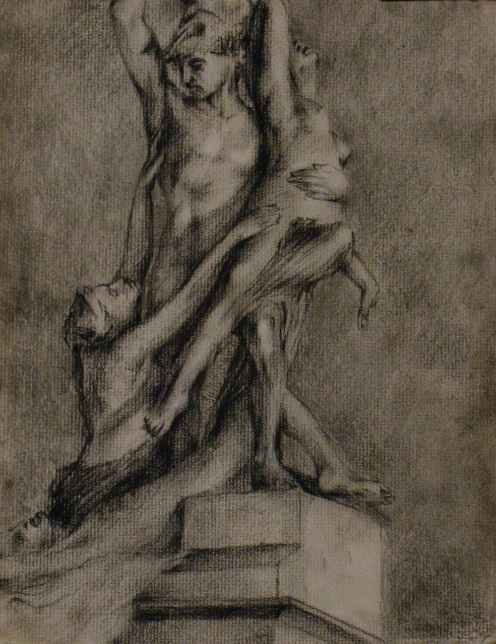The Rape of Polyxena - Loggi Dei Lanzi   9 x 12  Charcoal on Paper  2007