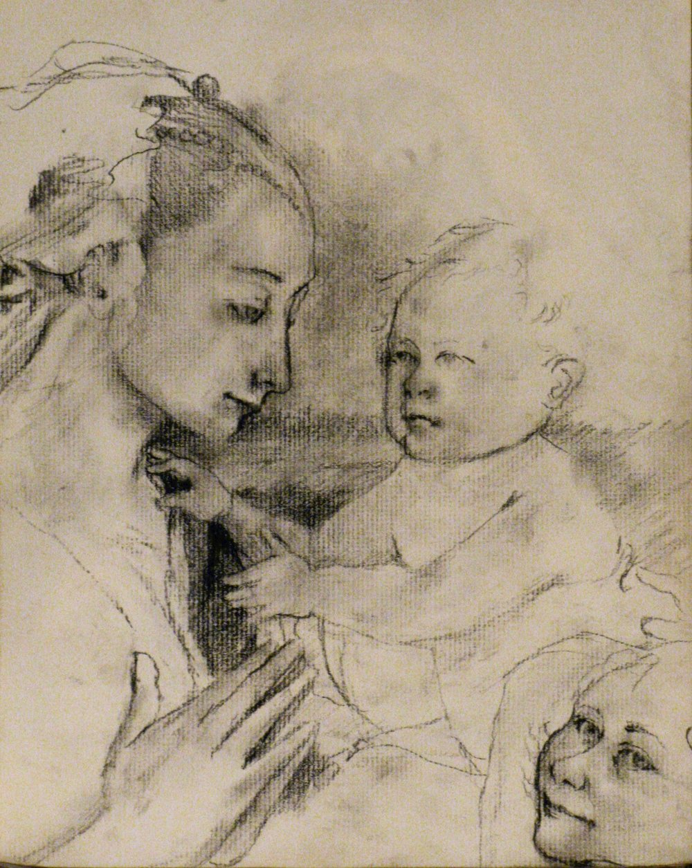 Madonna with Child and Two Angels, after Fra Filippo Lippi    9 x 12  Charcoal on Paper  2007
