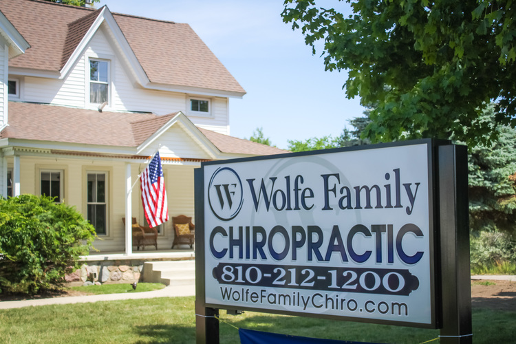 The front of Wolfe Family Chiropractic's office at 830 W. Dryden Rd. in Metamora, MI