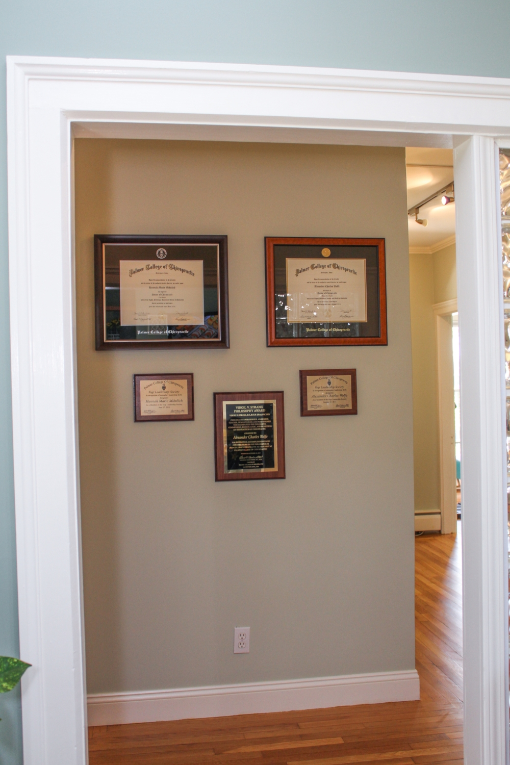 Wolfe Family Chiropractic Metamora hallway leading to chiropractor