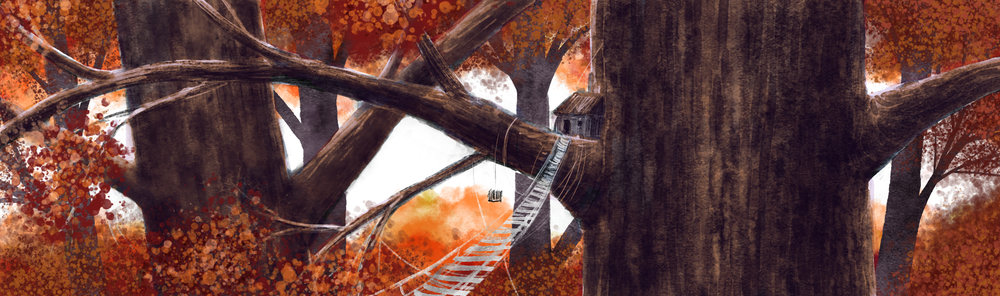 A simple treehouse base in Autumn, by Amanda Spaid