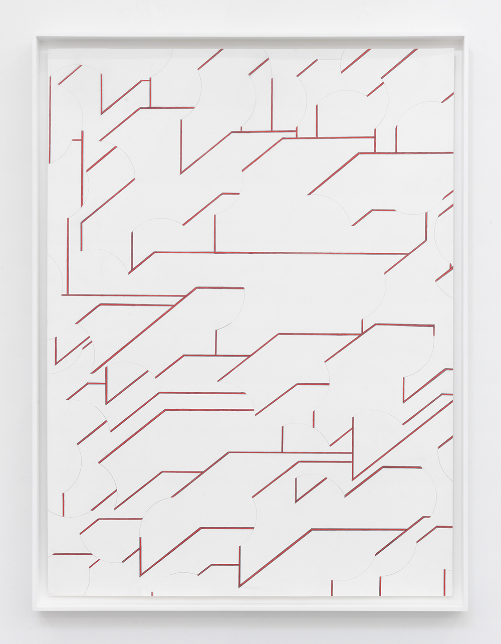 Miles Huston  Blank Verse, Red Line , 2012 Colored pencil on paper in artist frame 31.5 x 24 inches