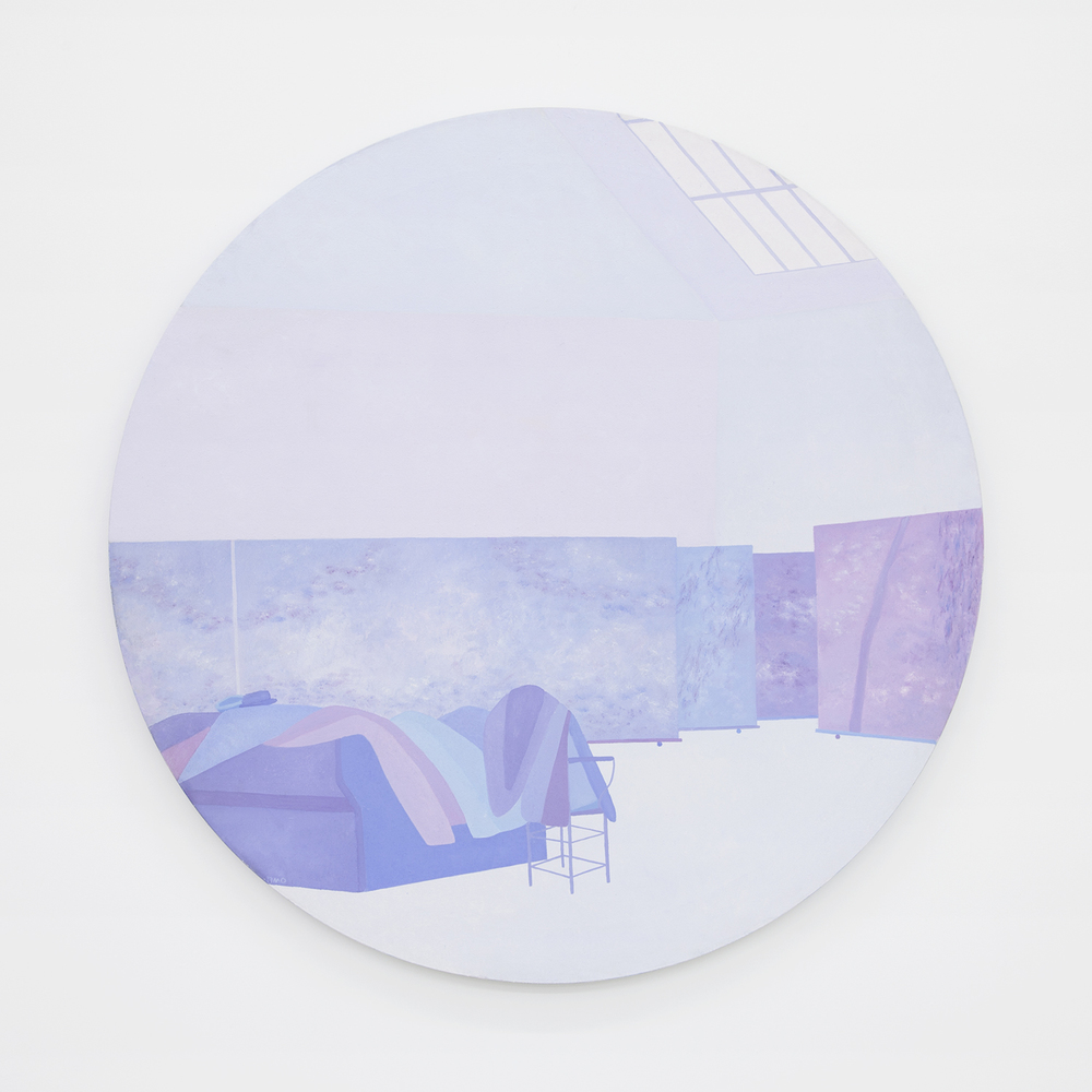 Richard Osterweil Round Monet Studio with Jackets and Hats - Blue and Mauve, 1983-1984 Oil on canvas 42.5 x 42.5 inches