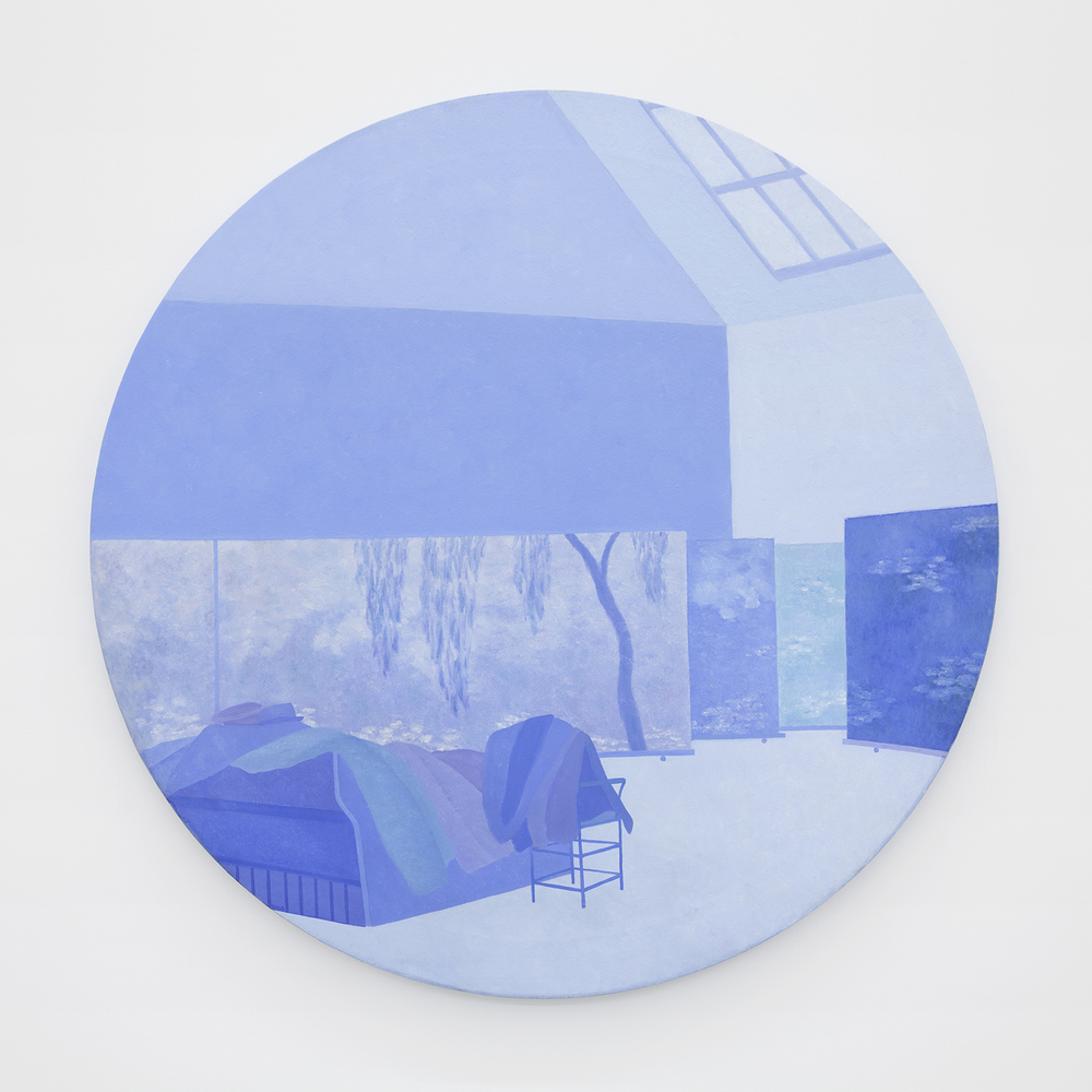 Richard Osterweil Round Monet Studio with Jackets and Hats - Blue, 1983-1984 Oil on canvas 42 x 42 inches