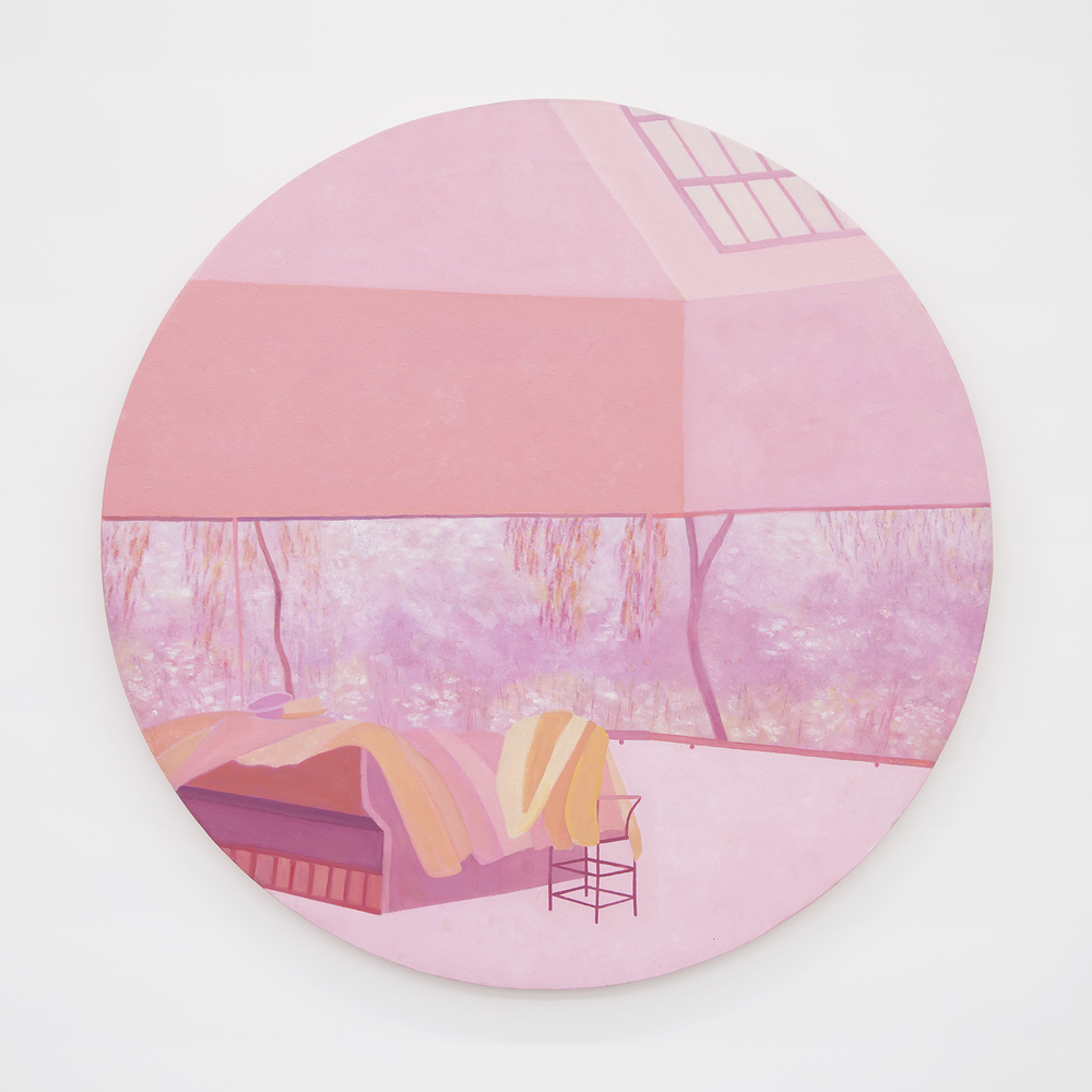 Richard Osterweil Round Monet Studio with Jackets and Hats - Salmon and Pink, 1983-1984 Oil on canvas 40 x 40 inches