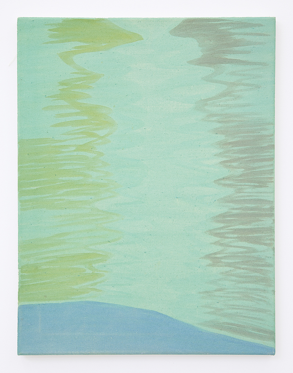Sunrise On Bay (Green) , 2016 Pigment on raw canvas 24 x 18 inches