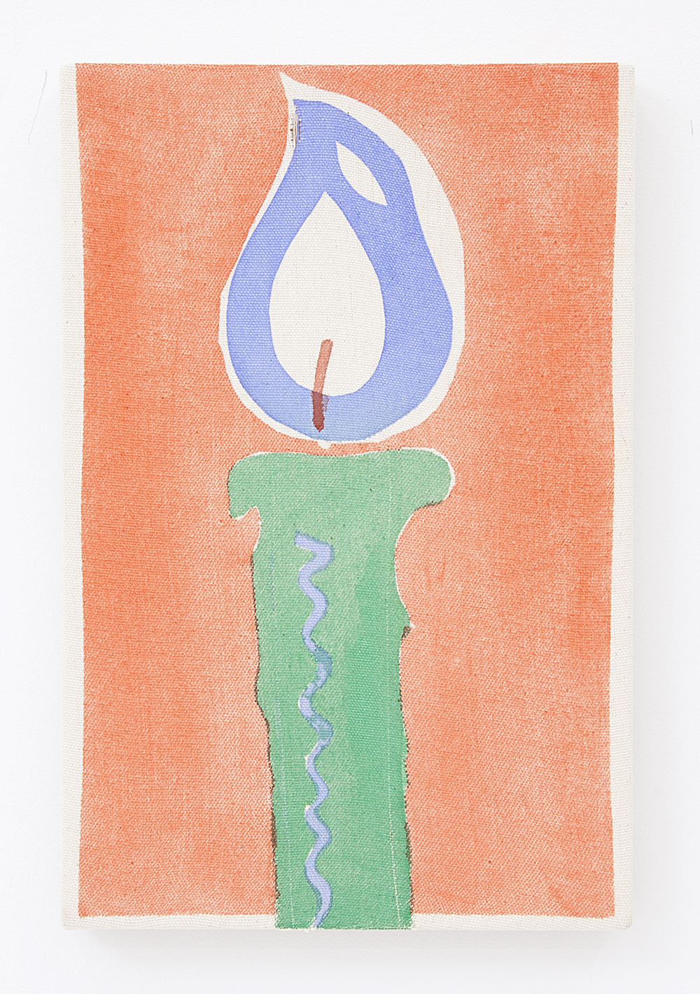 Green Candle , 2016 Pigment on raw canvas 12 x 8 inches