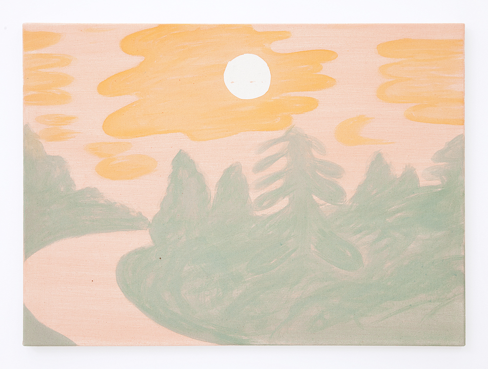 Pink Sky Orange Clouds Green Trees , 2016 Pigment on raw canvas 22 x 30 inches
