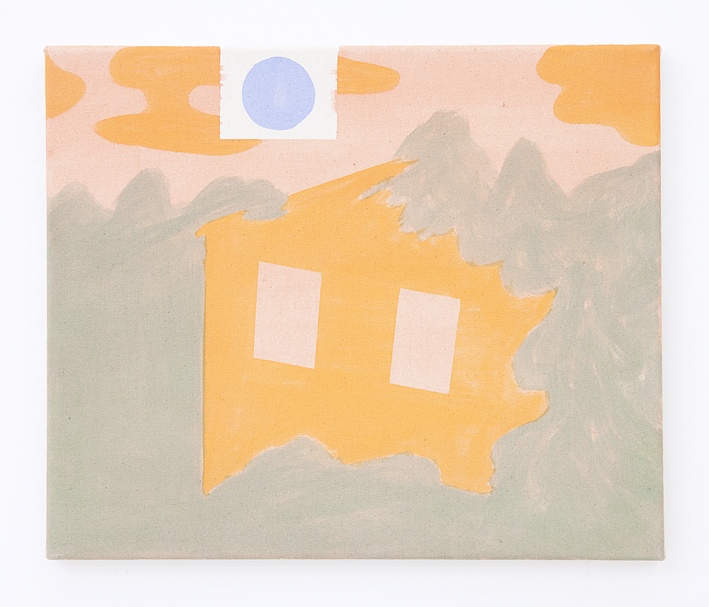 Orange House Pink Sky Blue Sun , 2016 Pigment on raw canvas 15 x 17 inches