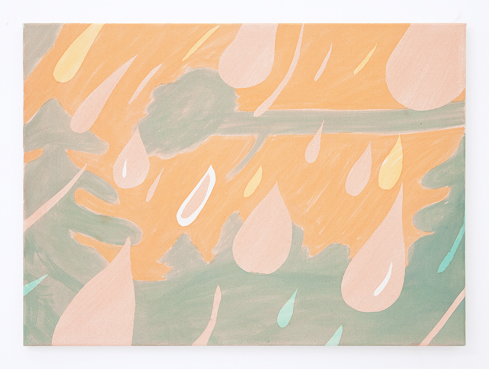Rain Orange Sky , 2016 Pigment on raw canvas 22 x 30 inches