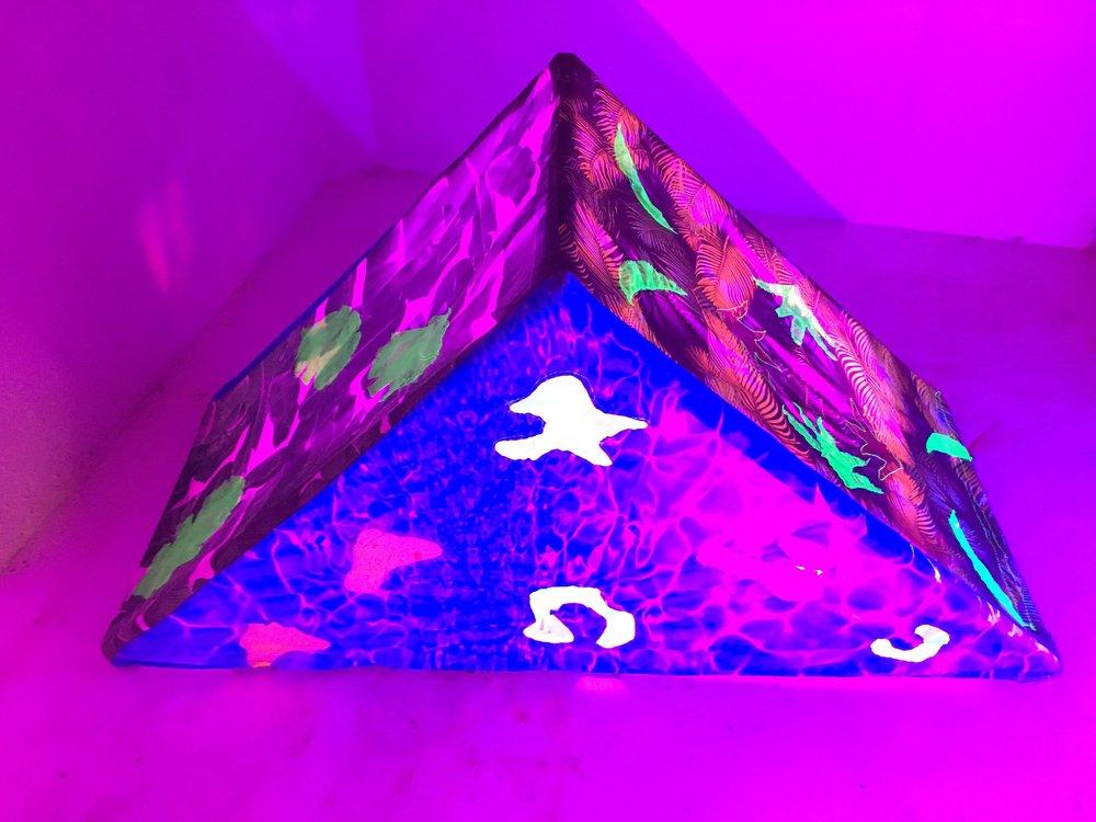 Tropidelic   fabric, upcyled plastic pool floats, PVC, VELCRO, LED lights