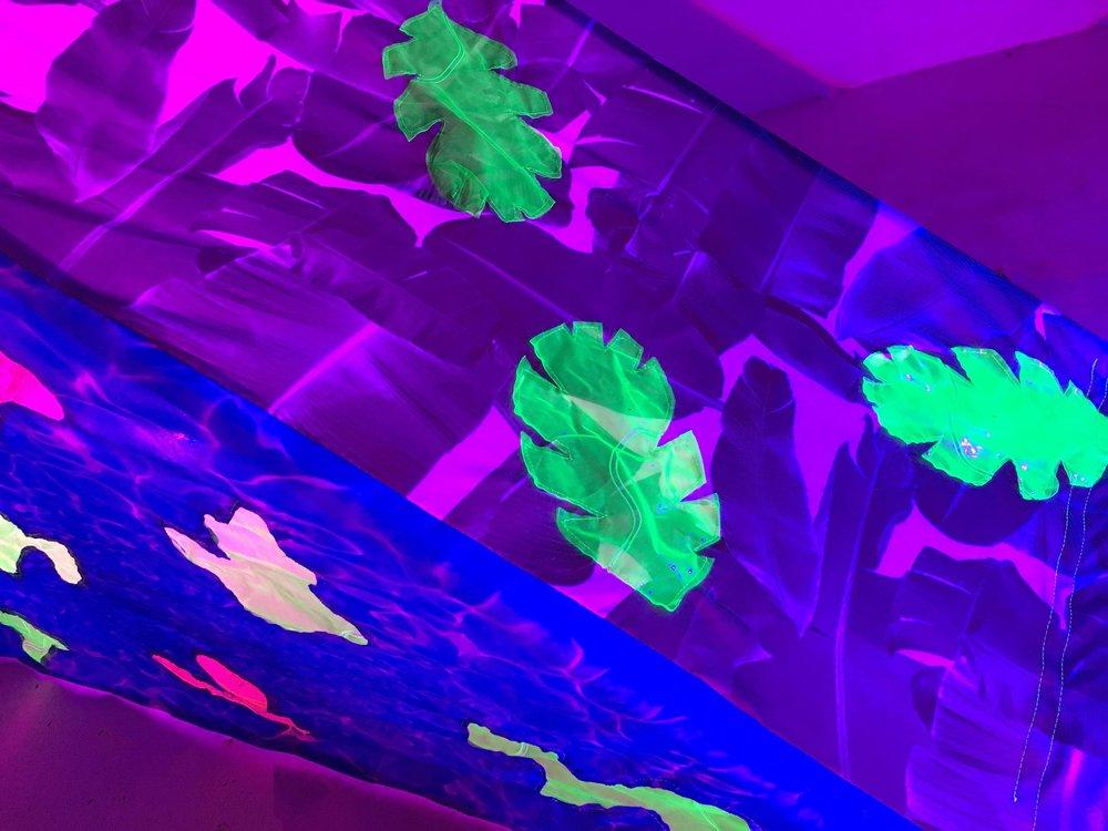 Tropidelic (detail)   fabric, upcyled plastic pool floats, PVC, VELCRO, LED lights