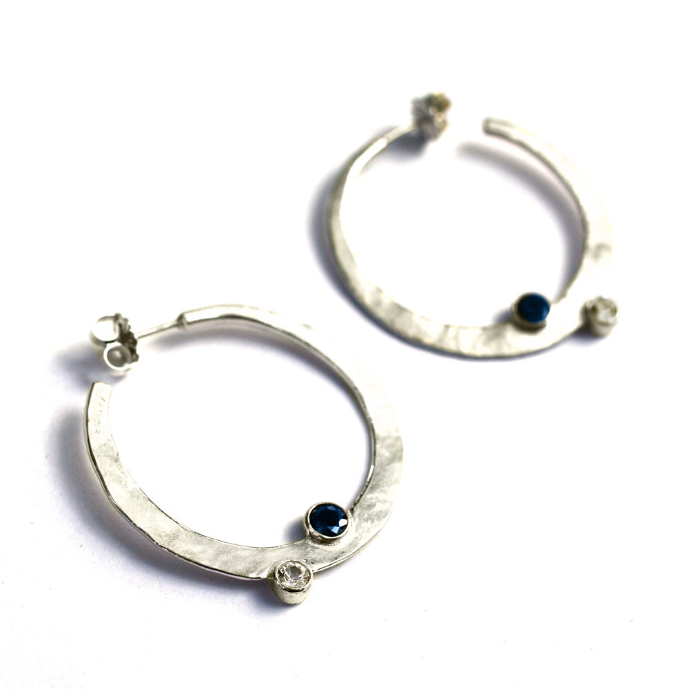 Custom Made Sterling Silver Hoop Earrings with Natural 5mm Blue Sapphire & 4mm White Sapphire