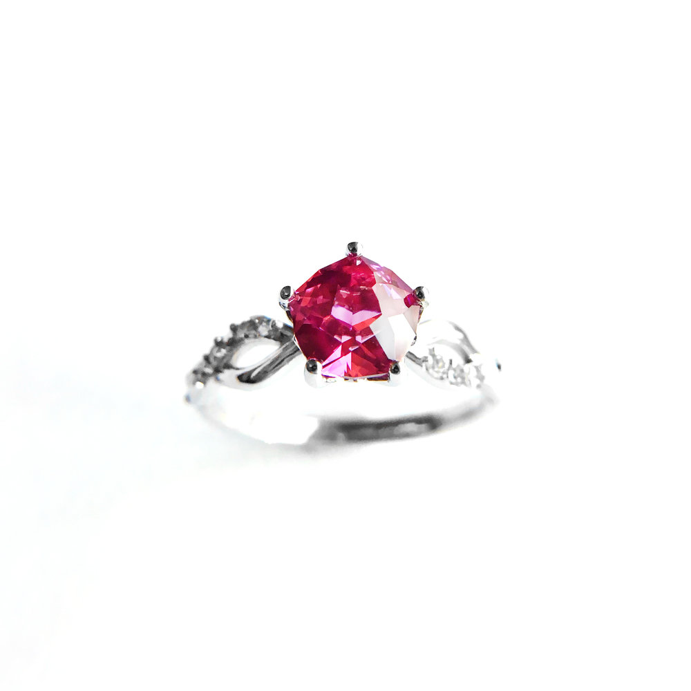Natural inspired pink sapphire engagement ring