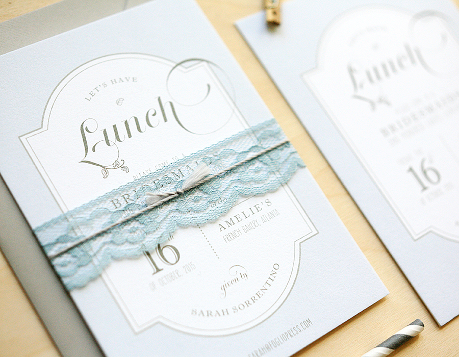 Bridal Luncheon Invitation | Lace Invitation | Foglio Press
