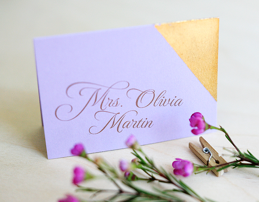 Plum and Gold Leaf Place Card | Foglio Press