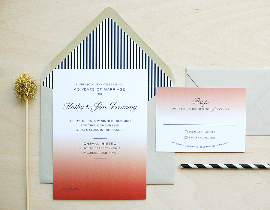 Ombre Anniversary Party Invitation | Foglio Press