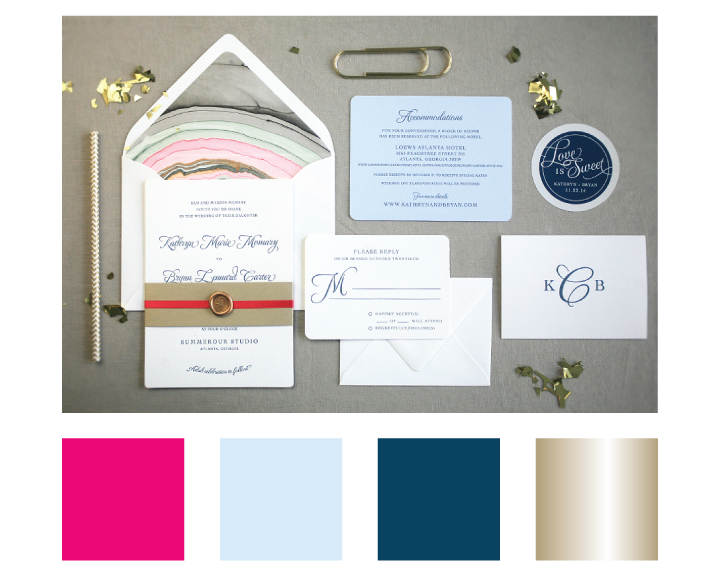 A palette of magenta, carolina blue, deep lagoon and gold interpreted in a fun and stylish invitation suite