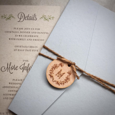 Wood Monogram Tag Invitation