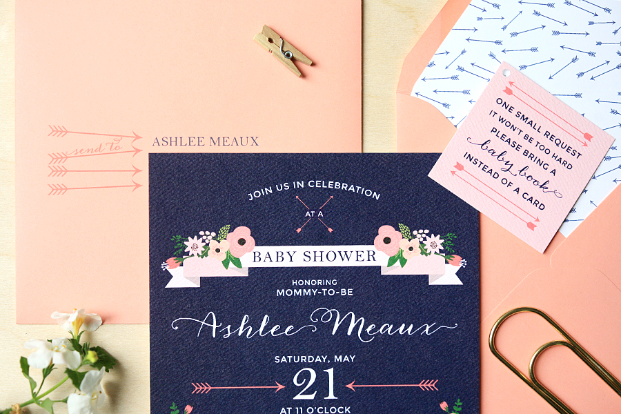 Arrow Themed Baby Shower Invitations | Foglio Press