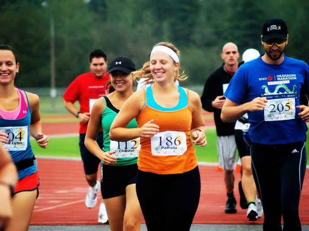 Coming up on the finish line of the Timmins Half Marathon, Ontario, Canada.