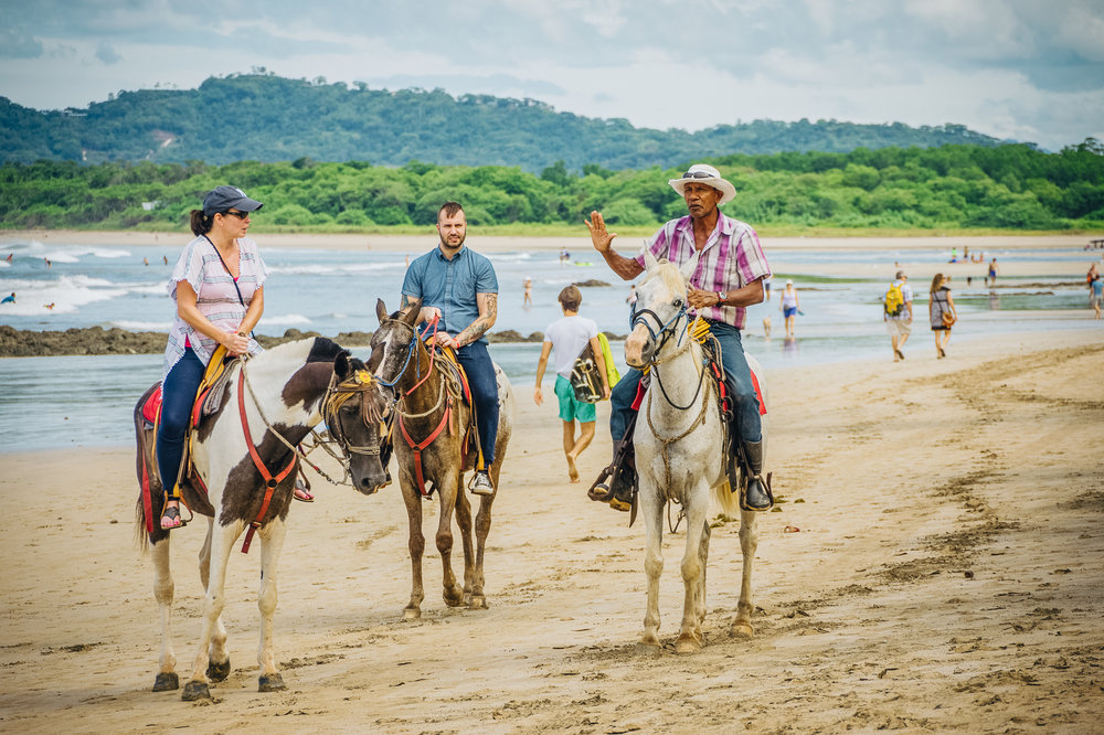 Tamarindo is rife with touristy things to do, like horseback riding on the beach as these people are doing. This guy is out almost every morning leading a new pack of people slowly down the beach.