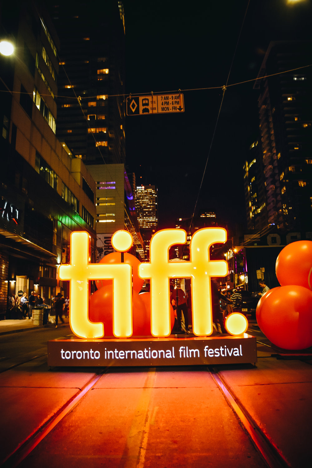 The iconic TIFF logo adorns the middle of King Street during the opening weekend of the festival.