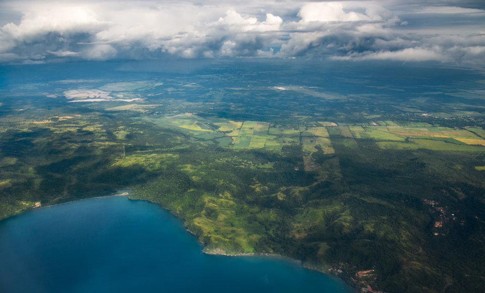 The blues and greens of the flight home from Costa Rica. Look at all those trees!