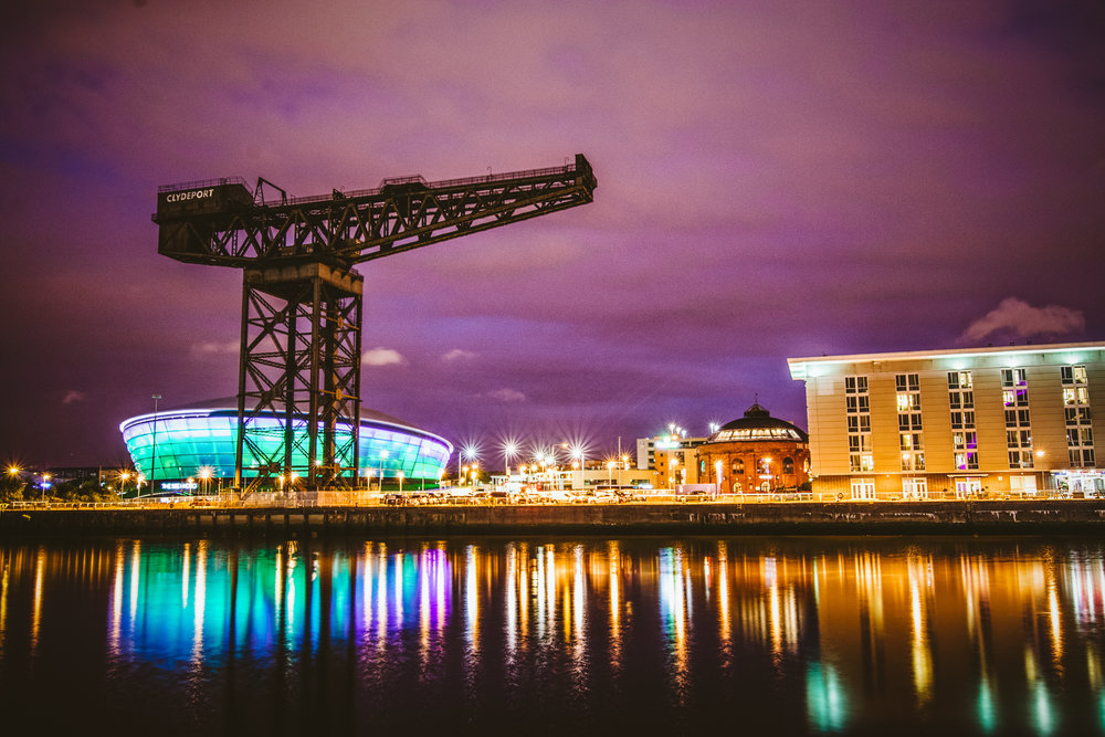 Down by the river, a few steps from where our flat was. The Clydeport crane is no longer in use, I was told but the quay area is still very active with new industries like music, entertainment, and museums.