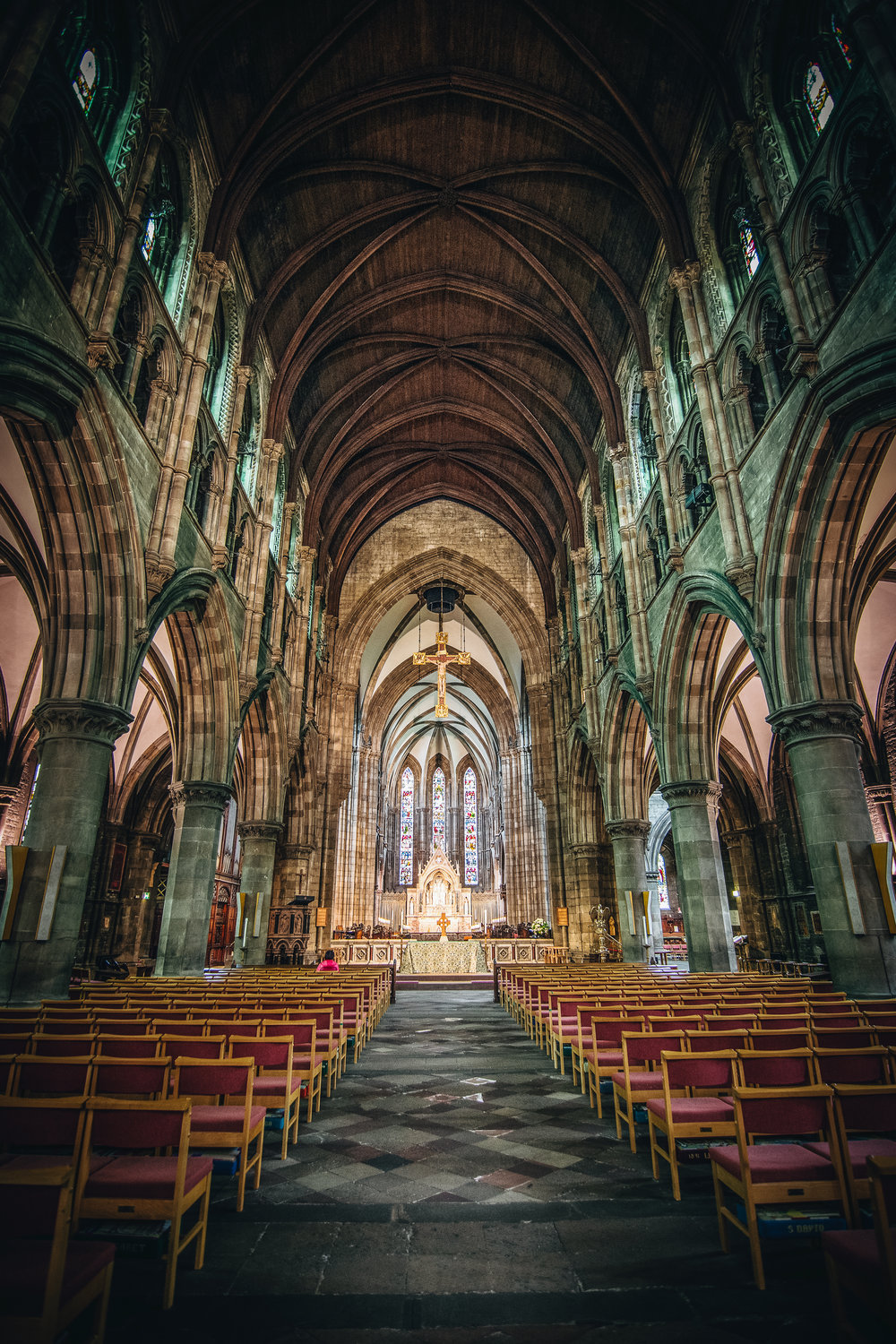 The interior of St. Mary's Cathedral. We stumbled across this place on a walk from Dean Village to Calton Hill.