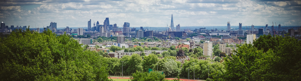A view of London from the north in Hampstead Heath at the Parliament Hill view point. This area is currently under an archaeological excavation!
