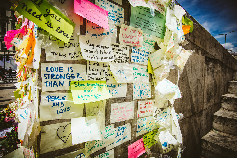 Only a small part of the memorial for the Borough Market/London Bridge attack. 1000s of people have posted notes of love and support from all over the world.