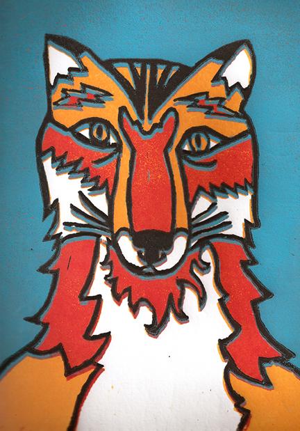 """Foxy"" Lino Reduction Print, 2011"