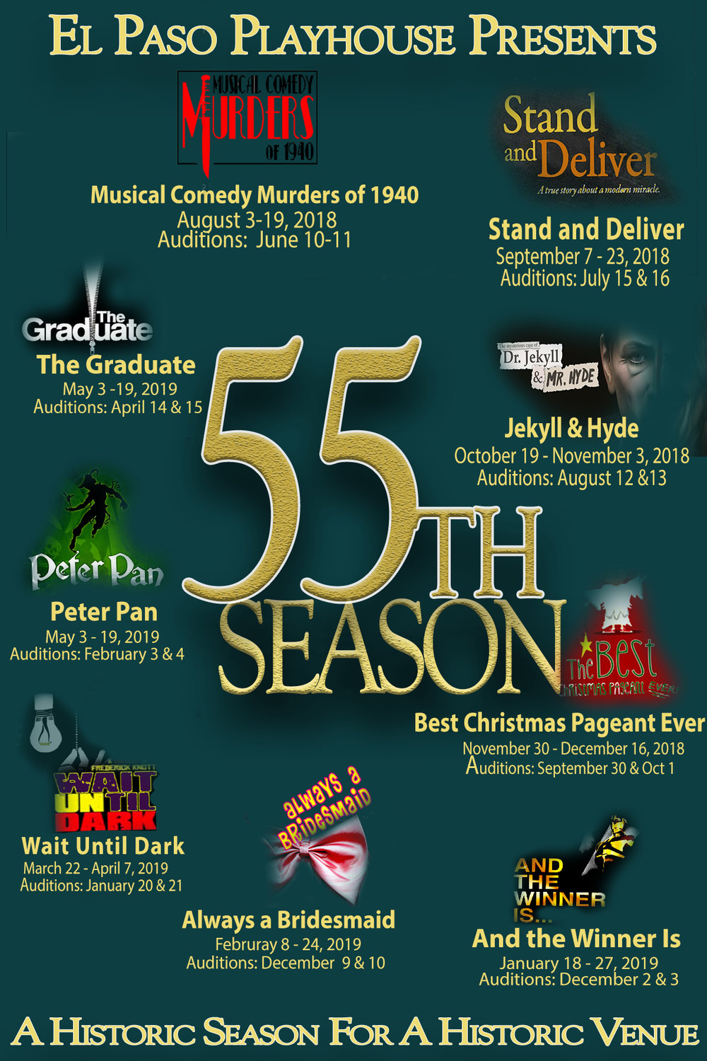 SEASON TICKETSJoin us for our 55th seasonSeason 55 Ticket Packages are on sale now! - You don't need to travel to see excellent theatre – we've got it right here. At The El Paso Playhouse, we provide big city quality entertainment with the hometown feel and price that you love.Subscribers are guaranteed seats to 9 outstanding productions with no hassles, minimal planning, and unbelievable savings. Subscribers also receive a discount on additional seats and bonus to complimentary items.