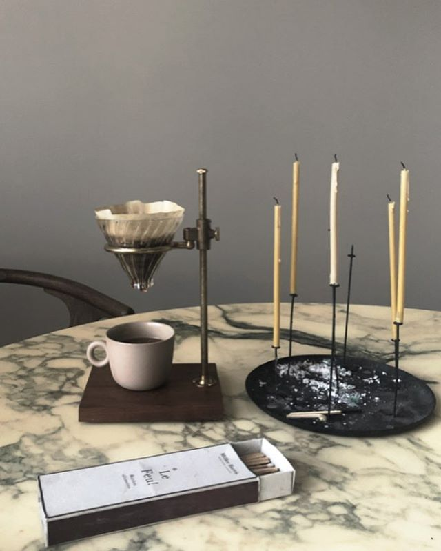I've got so many questions where the pour over coffee stand and the thin candles are from.  So here comes:  The pour over is from @thecoffeeregistry  The candles are from  @proloqueshop  #pourover #coffee #candles #vintagefurniture